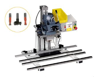 Hinge or plate mounting machine