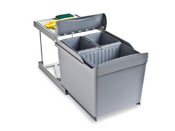 Waste containers 1 inner bin (16 litres) and 2 inner bins (7,5 litres) inox
