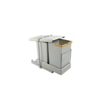 Recycling bin for bottom fastening and automatic extraction with 2 containers with 14 litres