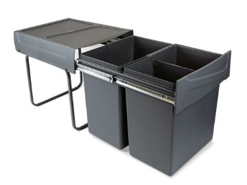 Recycle Recycling bins for kitchen, 20 x 20 L, lower fixing and manual removal.