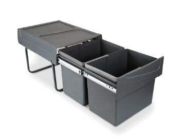 Recycling bins for kitchen, 2 x 15 L, lower fixing and manual removal.